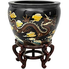 "16"" Black Dragons Fish Bowl :: Chinese Fish Bowls"