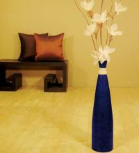 "24"" Tall Blue Bud Floor Vase ::"