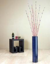 "25"" Blue Bamboo Cylinder Floor Vase :: Bamboo Decor"