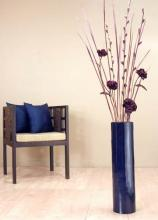 "27"" Blue Bamboo Cylinder Floor Vase :: Bamboo Decor"