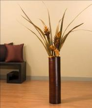 "27"" Brown Bamboo Oval Cylinder Floor Vase :: Bamboo Decor"