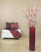 "27"" Red Bamboo Cylinder Floor Vase :: Bamboo Decor"