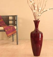 "27"" Slender Mahogany Red Bamboo Floor Vase :: Bamboo Decor"