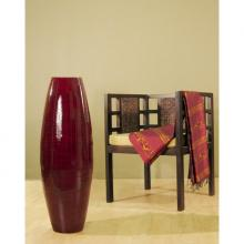 "36"" Red Mahogany Bamboo Oval Cylinder Large Floor Vase :: Bamboo Decor"
