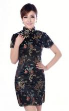 Black Dragon and Phoenix Knee-Length Qipao :: Qipao Dresses