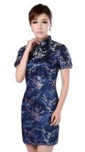 Blue Cherry Blossom Knee-Length Qipao :: Qipao Dresses
