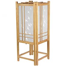 Cranes in Flight Lamp (Natural Finish) :: Chinese Lamps