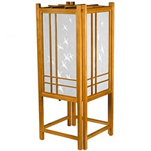 Cranes in Flight Lamp (Honey Finish) :: Chinese Lamps
