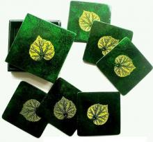 Green Square Leaf Coaster Set :: Asian Cups and Bowls
