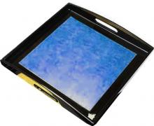 Blue Square Lacquered Tray :: Oriental Serving Trays