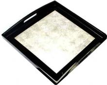 Silver Square Lacquered Tray :: Oriental Serving Trays