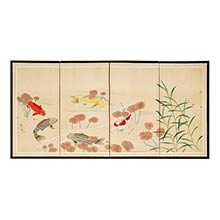 Five Tranquil Fish :: Japanese Silk Paintings