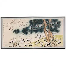 Hundred Cranes :: Japanese Silk Paintings