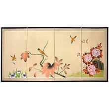 Birds on the Tree :: Japanese Silk Paintings