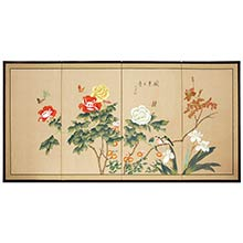 Butterflies in the Garden :: Japanese Silk Paintings