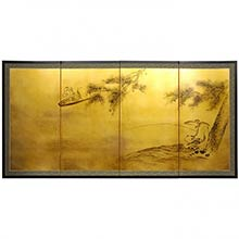 Gold Leaf Fishing for Life :: Chinese Silk Paintings