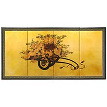 Flower Cart on Gold Leaf :: Chinese Silk Paintings