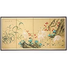 Geese in the Water :: Japanese Silk Paintings