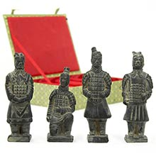 Box of 4 Terra Cotta Warriors :: Buddhist Statues