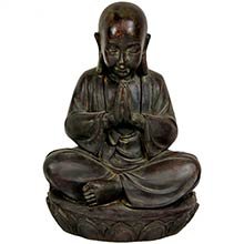 "16"" Sitting Japanese Zen Monk Statue"