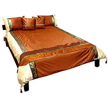 Bronze Silk Thai Elephant Bedding ::