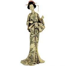 Geisha Figurine w/ Large Bow Kimono :: Japanese Geisha Dolls
