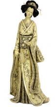 "14"" Geisha Figurine w/ Plum Tree Kimono :: Japanese Geisha Dolls"