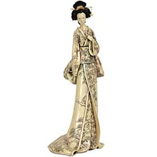 "18"" Geisha Figurine w/ Flower Vine Kimono :: Japanese Geisha Dolls"