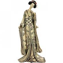 "18"" Geisha Figurine w/ Bamboo Tree Kimono :: Japanese Geisha Dolls"