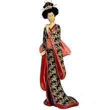 "14"" Geisha Figurine w/ Pastel Sash :: Japanese Geisha Dolls"