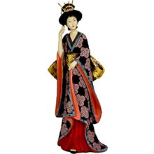 "14"" Geisha Figurine w/ Ivory Flower Sash :: Japanese Geisha Dolls"