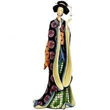 "18"" Geisha Figurine w/ Pale Gold Sash :: Japanese Geisha Dolls"
