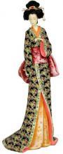"18"" Geisha Figurine w/ Lavendar Floral Sash :: Japanese Geisha Dolls"