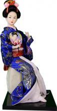 Seated Royal Geisha with Fan :: Japanese Geisha Dolls