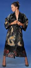 Black Flowing Dragon Kimono Robe ::