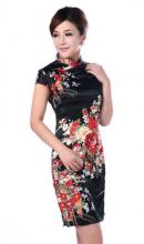 Black Silk Floral Knee-Length Qipao (Sleeveless) ::