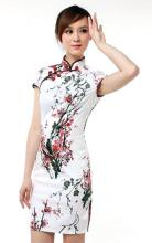 White Sakura Knee-Length Qipao :: Qipao Dresses