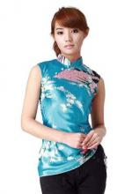 Turquoise Peacock Chinese Blouse :: Chinese Blouses