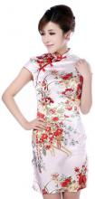 White Silk Peony Knee-Length Qipao (Sleeveless) :: Qipao Dresses