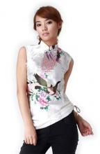 White Peacock Chinese Blouse :: Qipao Dresses