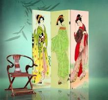 Double Sided Three Geishas Divider :: Folding Room Dividers