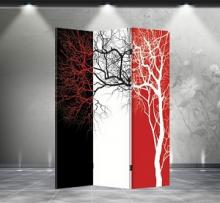 Double Sided Tri-Color Tree Divider :: Folding Room Dividers