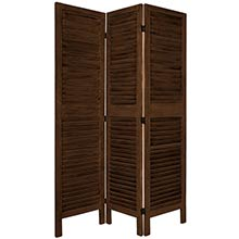 "67"" Tall Wooden Shutter Screen (Burnt Brown) :: Wooden Shutter Screens"