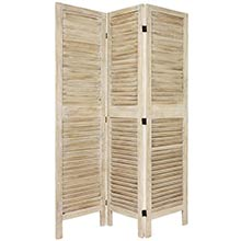 "67"" Tall Wooden Shutter Screen (Burnt White) :: Wooden Shutter Screens"