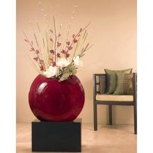 "24"" Giant Top-Opening Circle Vase - Ruby :: Bamboo Decor"