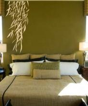 Hanging Bamboo Leaves Wall Decal :: Asian Art Wall Stickers