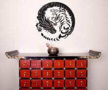 Tiger Dragon Yin Yang Wall Decal :: Asian Art Wall Stickers