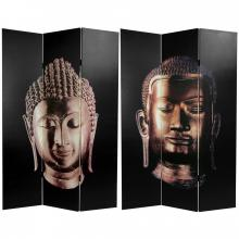 6 ft. Tall Double Sided Buddha Canvas Room Divider  :: Folding Room Dividers