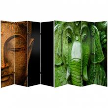 6 ft. Tall Double Sided Buddha and Ganesh Canvas Room Divider  :: Buddha Decor