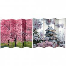 6 ft. Tall Double Sided Cherry Blossoms Canvas Room Divider 6 Panel :: Folding Room Dividers